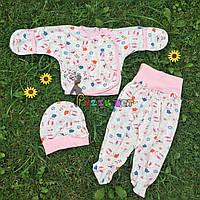 Комплект для новорожденного (распашонка+ползунки+шапочка) Lari 56 р розовый, фото 1
