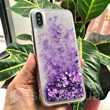 Чехол силиконовый с переливающимися блестками для iPhone X/XS, фиолетовый
