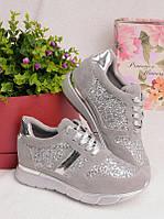 Серые кроссовки с серебристыми блестками 25939, фото 1
