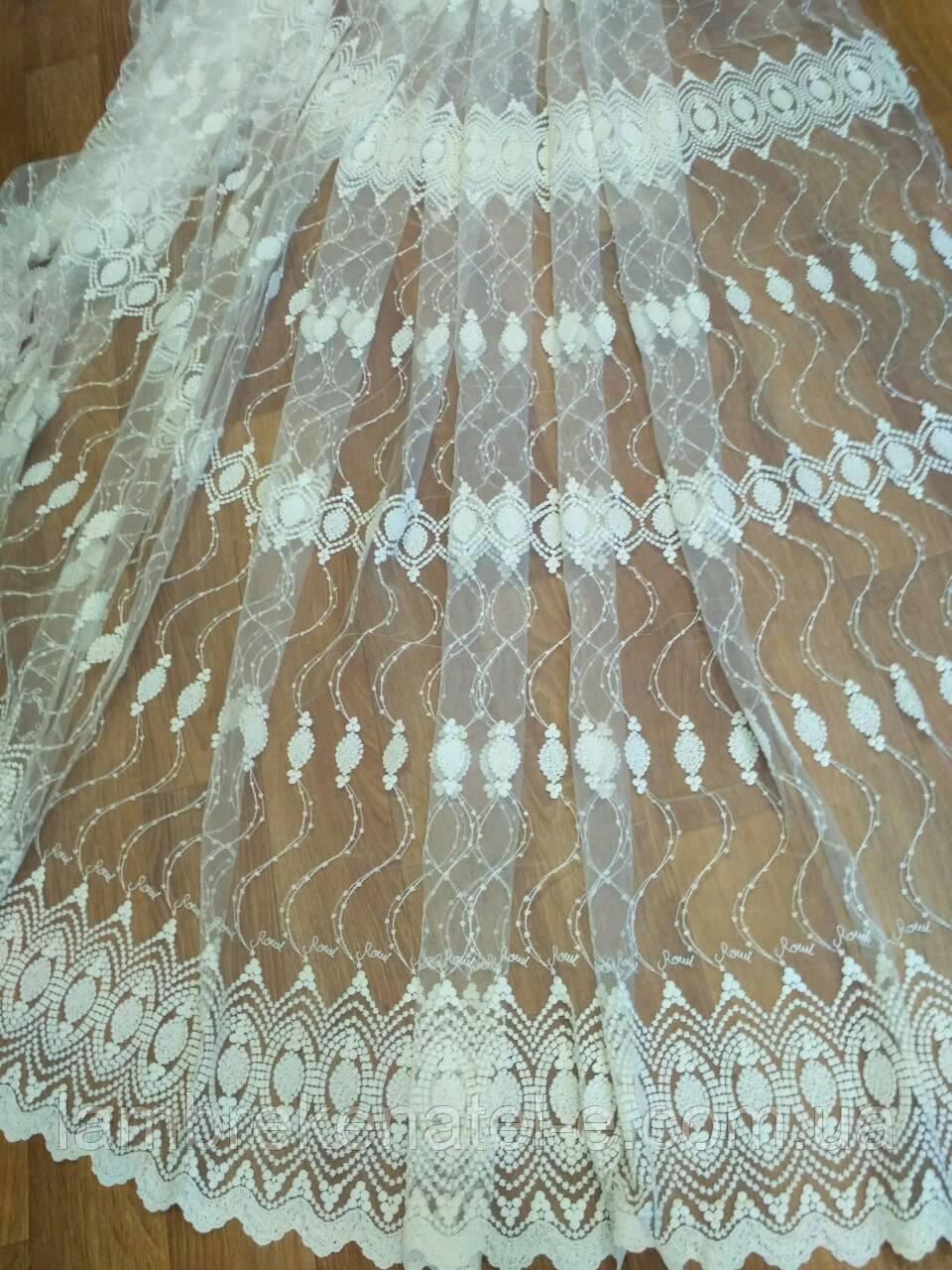 Тюль недорогая фатин с шелковой вышивкой