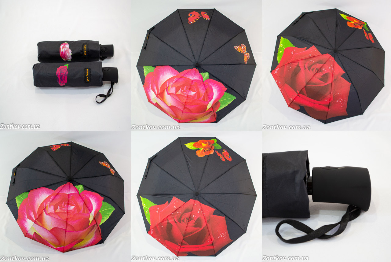 "Женский зонт полуавтомат ""rose flower"" оптом на 10 спиц анти-ветер от фирмы ""Feeling Rain""."