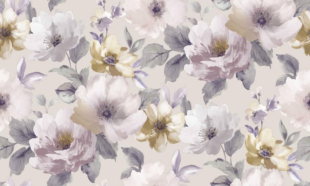обои флизелиновые весенние цветы в спальню Cливовые с сиреневым 1