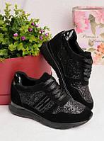 Черные кроссовки с блестящими вставками 25937, фото 1