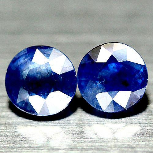 3.71  кт Природный синий сапфир круг пара 6.6-7 мм