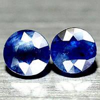 3.71  кт Природный синий сапфир круг пара 6.6-7 мм, фото 1