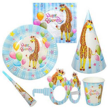 Праздничный набор бумажный на 6чел (салфетки, тарелки, стаканы, дудки, колпаки), фото 2