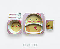 Детский набор посуды из бамбука (цвет розовый, цыплёнок)