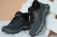 Ботинки спортивные полуботинки зимние кожа      мужские черные (Код: М184)