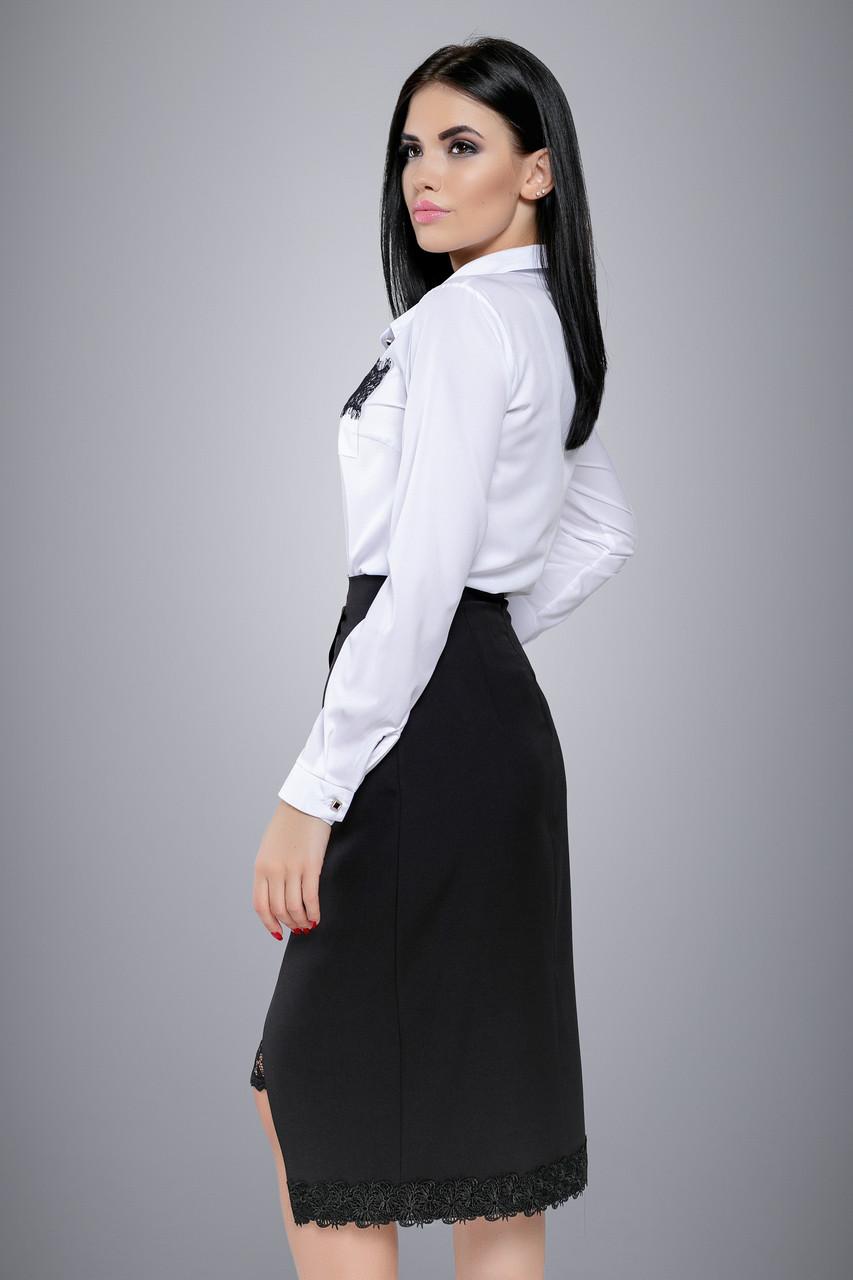 7c72704b477 Женская белая рубашка с кружевом на кармане  продажа