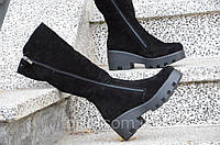 Сапожки на платформе женские зимние натуральная кожа, замша черные изысканые (Код: Т893)