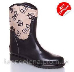 Стильні жіночі гумові чоботи утеплені Valex р(35)