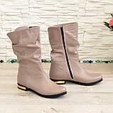 Ботинки кожаные зимние на низком ходу, цвет визон, фото 3