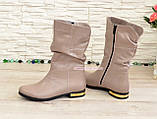 Ботинки кожаные зимние на низком ходу, цвет визон, фото 4