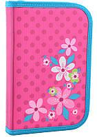Пенал для школы Flowers Smart 531677 розовый, с клапаном