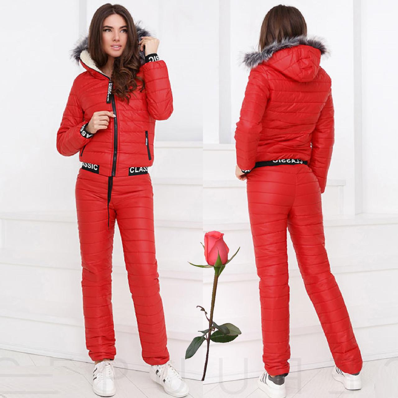 Женский зимний теплый костюм из плащевки  G 24609  Красный