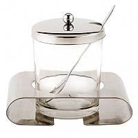 Сахарница стеклянная со стальным основанием ложкой и крышкой 200 мл Kamille 7005
