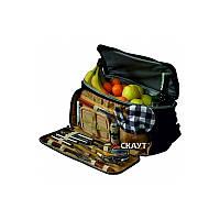 Сумка-холодильник с набором для пикника 10,5 л 42x25x23 см 12 предметов Скаут 0719