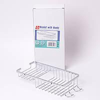 Корзинка для ванной с крючками прямоугольная из нержавеющей стали настенная 26,5x11,5x5 см Besser 8505