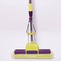 Швабра с отжимом телескопической металлической ручкой и насадкой 125x33 см Valsar 0312