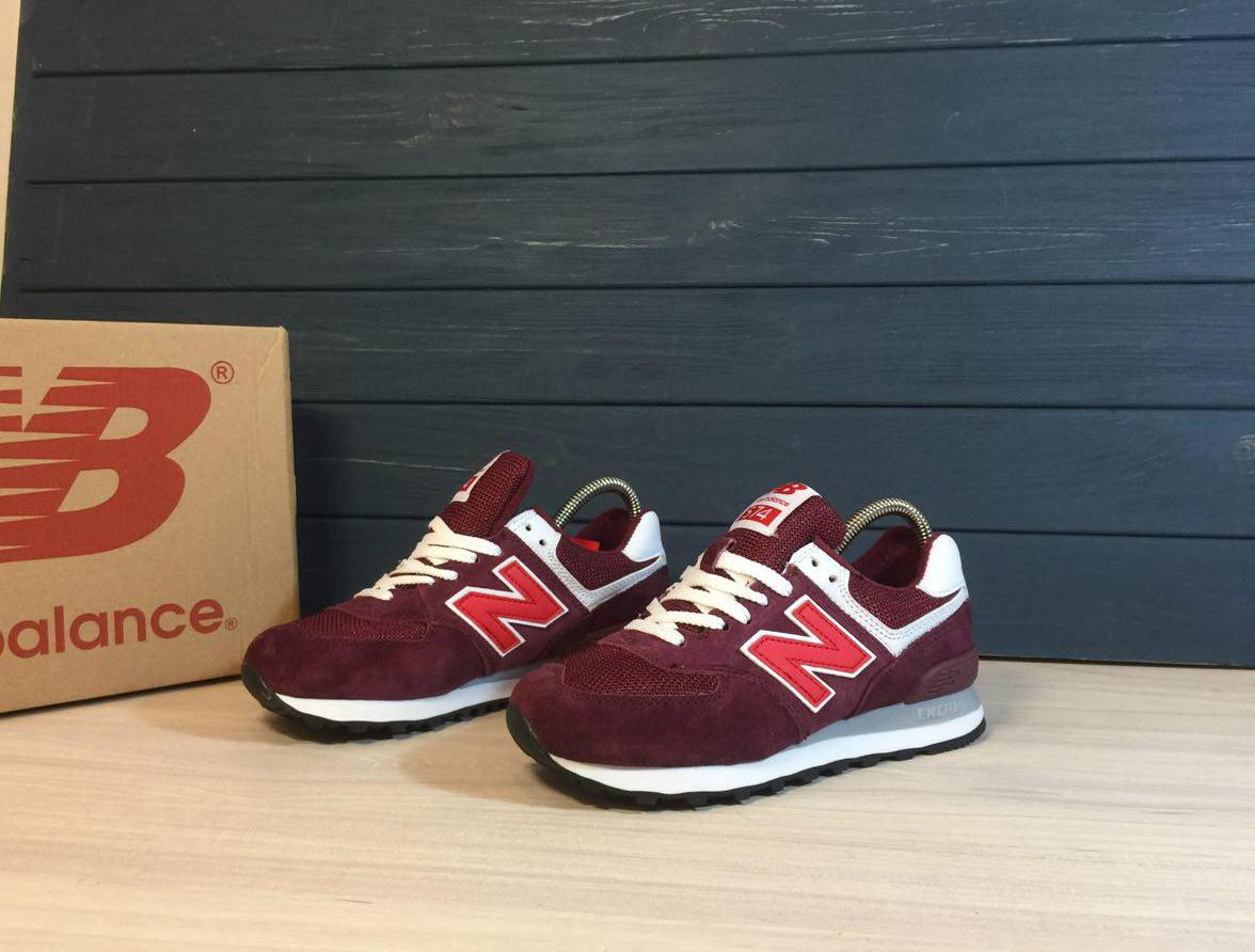 Женские кроссовки New Balance 574 Bordo Red