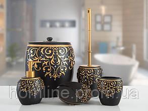 Комплект в ванную Irya Flossy siyah черный (5 предметов)