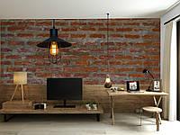 """3D фотообои """"Светильник на стене из красного кирпича"""""""