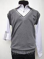 Рубашка-обманка на мальчиков с серой безрукавкой 140,152 роста