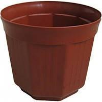 Горшок пластиковый для цветов терракотового цвета без поддона «Октава» 13 ММ-Пласт
