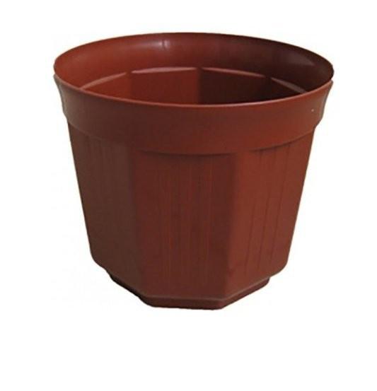 Горшок пластиковый для цветов терракотового цвета без поддона «Октава» 15 ММ-Пласт