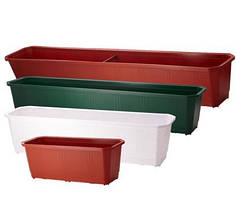 Балконный ящик для цветов пластиковый белый 80x17x14 см ММ-Пласт