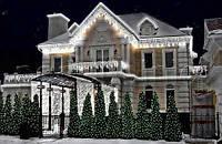 Уличная Внешняя Светодиодная Гирлянда Бахрома для Фасадов Зданий Окон 100 LED Белый Цвет 2х0,5 м