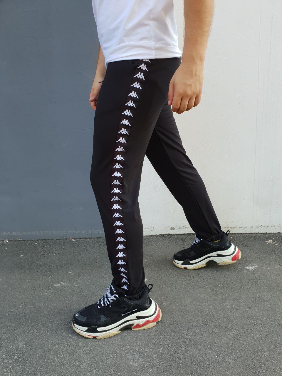 b5f66f542241 Спортивные штаны мужские черные c лампасами Kappa - Доберман шоп - уличный  шмот в Харькове