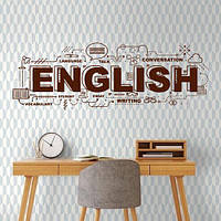 Интерьерная текстовая наклейка надпись English (английские буквы слова), фото 1
