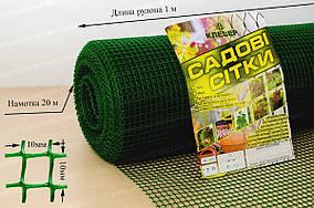 Пластиковая декоративная сетка для забора зеленого цвета 10*10/1*20 Клевер