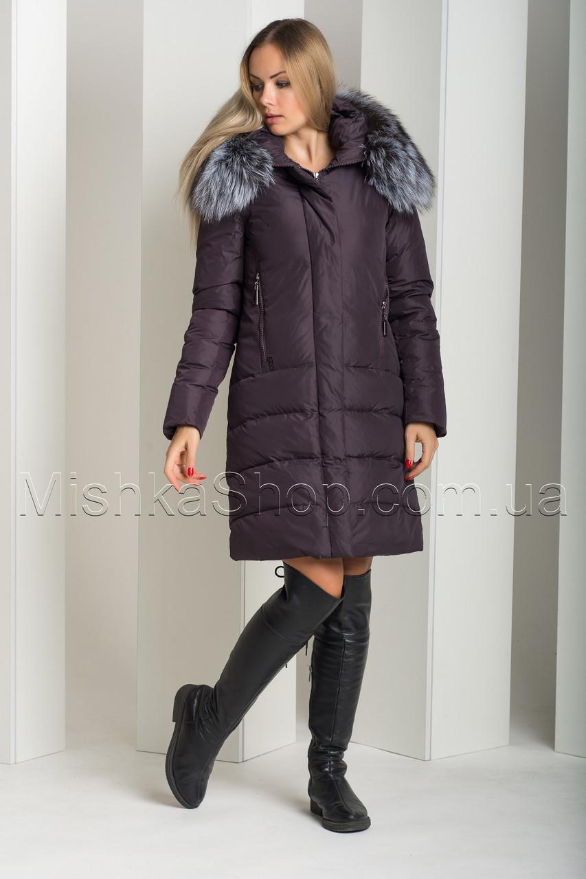 Красивый пуховик из матовой ткани с натуральным мехом чернобурки Peercat 18-775 бордового цвета