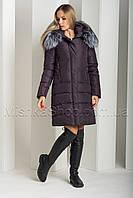 Красивый пуховик из матовой ткани с натуральным мехом чернобурки Peercat 18-775 бордового цвета, фото 1