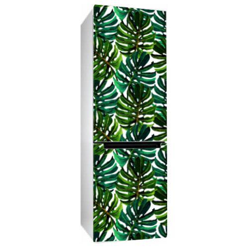 Виниловая наклейка на холодильник Листья Монстеры (пленка самоклеющаяся фотопечать)