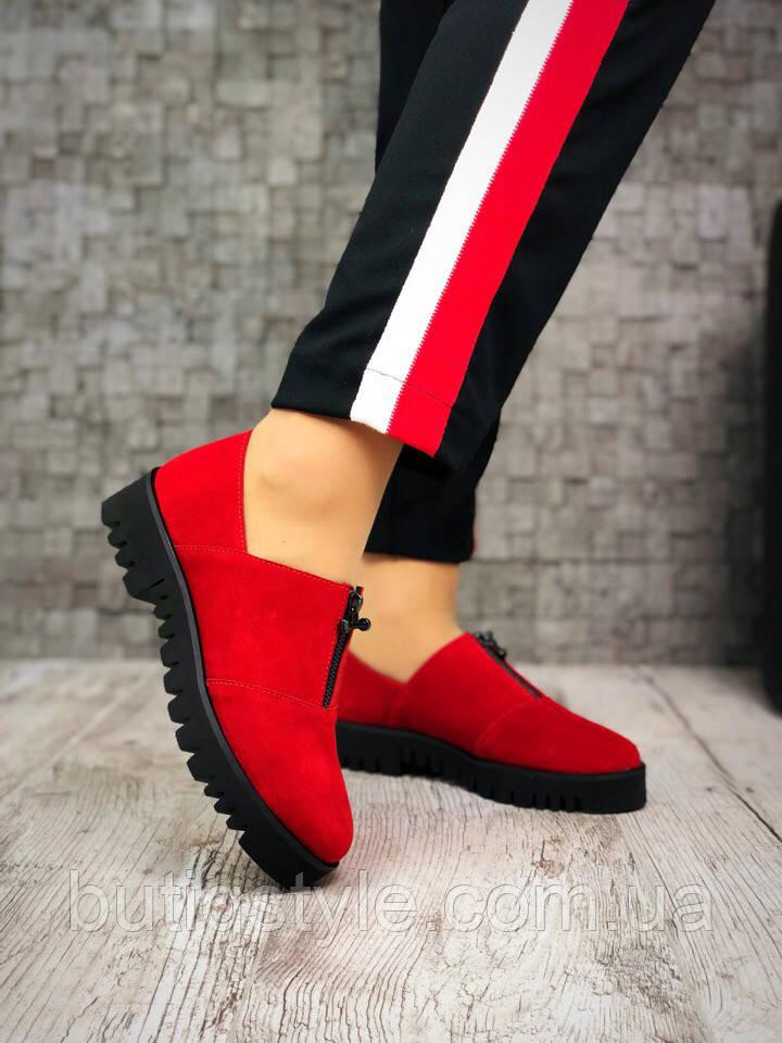 40 размер! Туфли женские на низком ходу Zan@ti натуральный красный замш