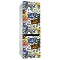 Виниловая наклейка на холодильник Номера автомобилей (пленка самоклеющаяся фотопечать)