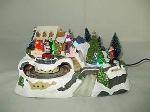 """Светодиодный рождественский дом """"Панорама церкви с поездом"""""""