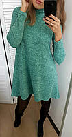 Женское короткое платье свободное с длинным рукавом из ангоры,норма и батал