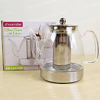 Чайник-заварник для чая стеклянный со съемным ситечком 1500 мл Kamille 1623