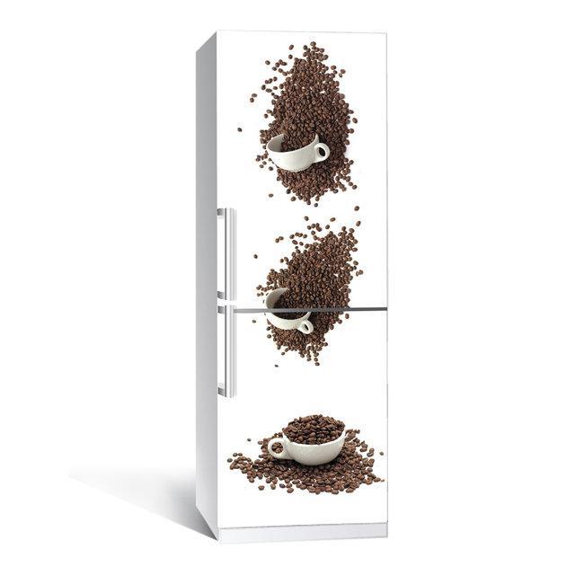 Виниловая наклейка на холодильник Кофейные чашки ламинированная двойная (пленка самоклеющаяся фотопечать)