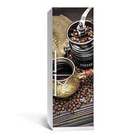 Виниловая наклейка на холодильник Кофе 01 ламинированная двойная (пленка самоклеющаяся фотопечать)