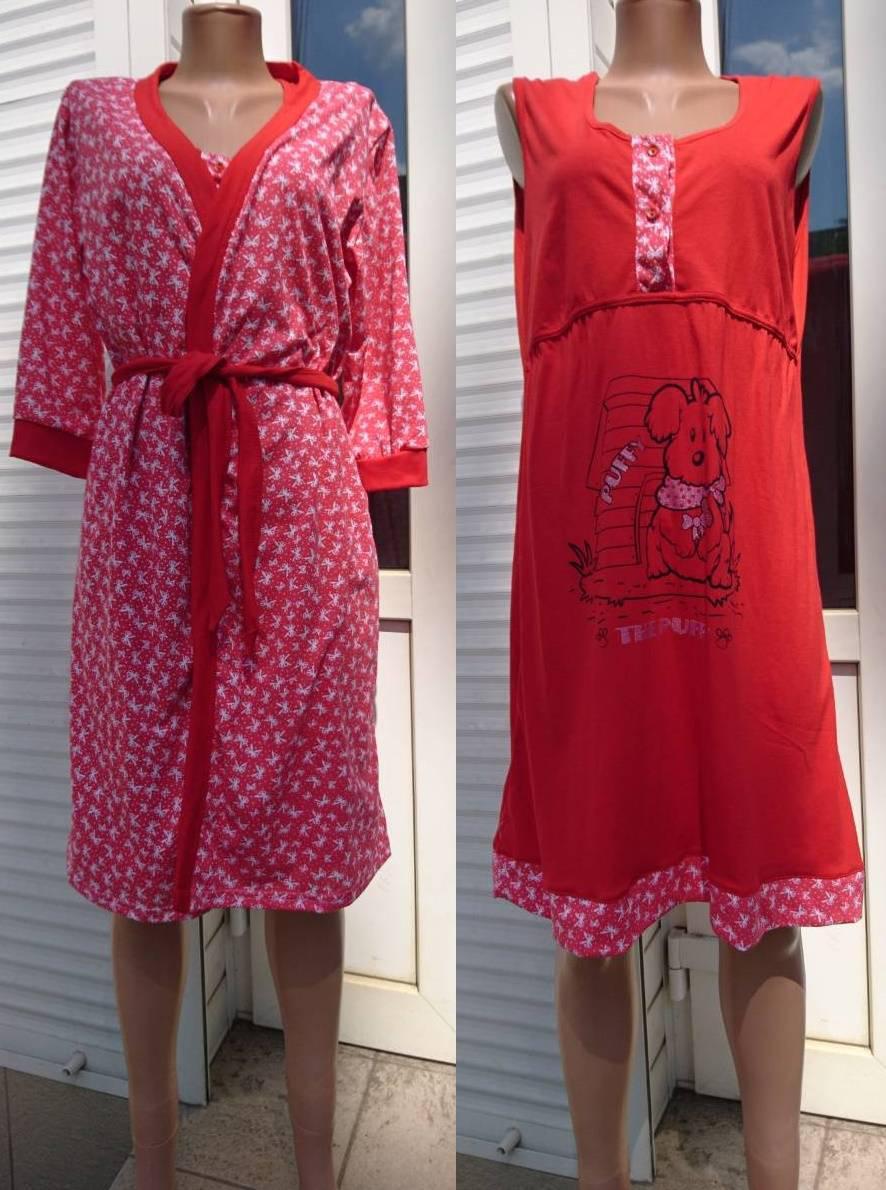 bdd8ec6c40eace4 Халат и ночная рубашка для кормящих и беременных женщин красного цвета  принт Puffy 44-58