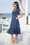 Плаття з v-подібним вирізом синє, фото 2