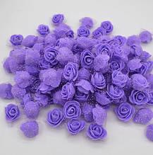 Набор сиреневых цветочков с фатином - в наборе 48-50шт., размер одного цветака 3см, пена
