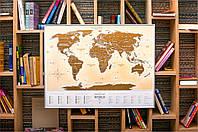 Скретч-карта мира Gold New на украинском языке