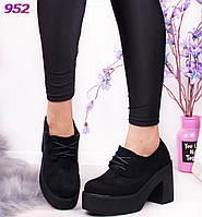 Женские замшевые туфли на каблуке черные, фото 1