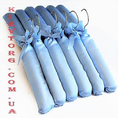 Плечики вешалки мягкие сатиновые для деликатных вещей голубого цвета, длина 380 мм
